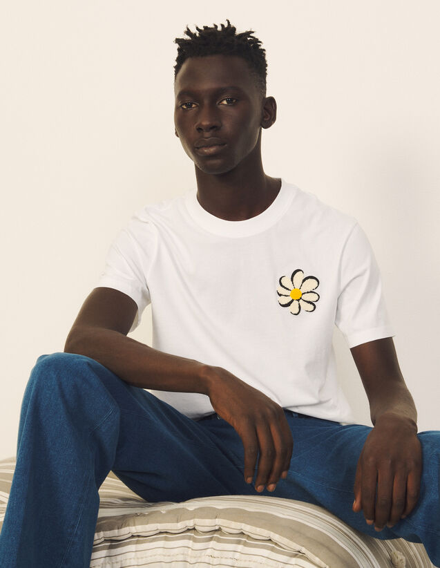 Organic Cotton T-Shirt With Patch : T-shirts & Polo shirts color white