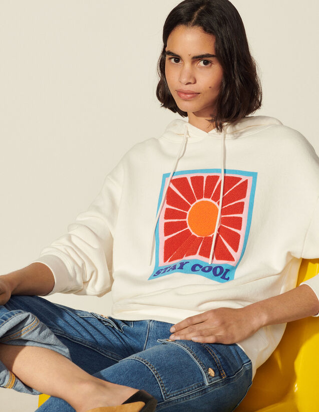 Oversized Printed Sweatshirt With Hood : Tops color white