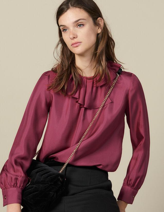 Silk Top With Small Asymmetric Collar : Tops color Fuchsia