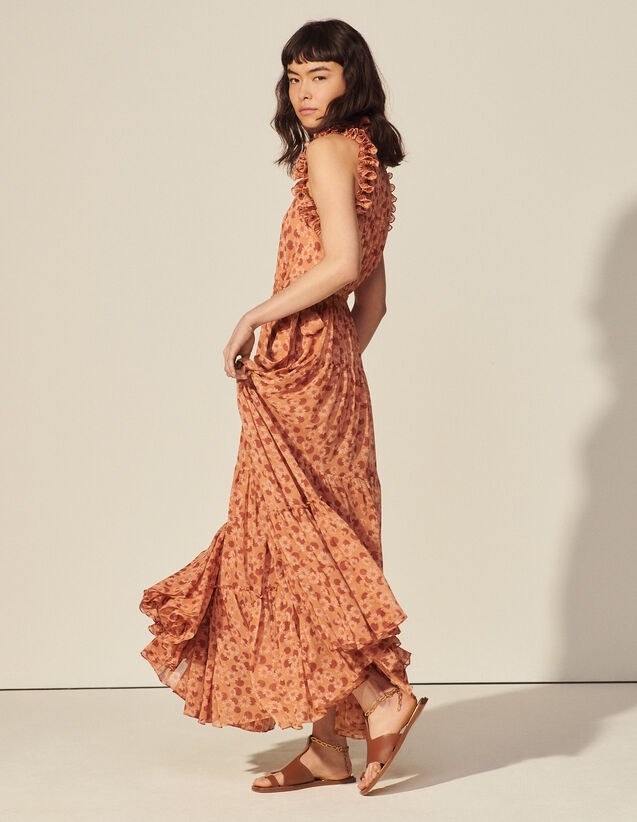 Long Printed Dress With Pleated Ruffles : Dresses color Brown