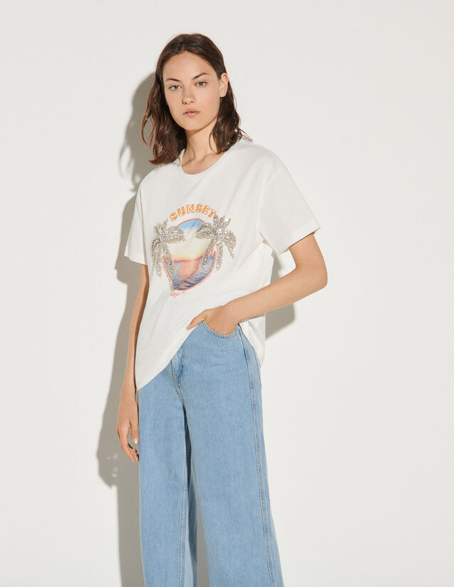 Printed T-Shirt With Rhinestones : T-shirts color white