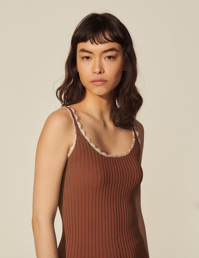 Ribbed Vest Top With Fancy Finish : Tops color Brown