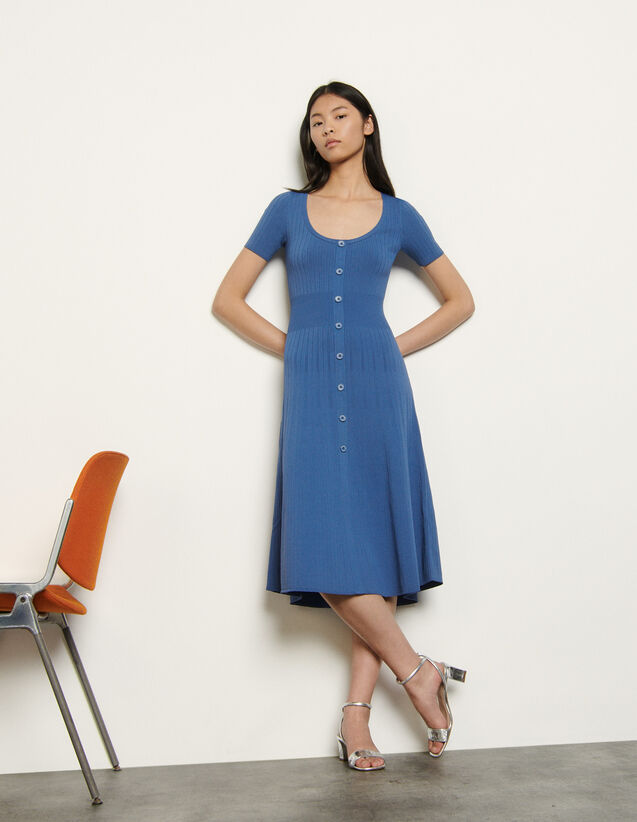 Buttoned Knit Dress : Dresses color Blue Jean