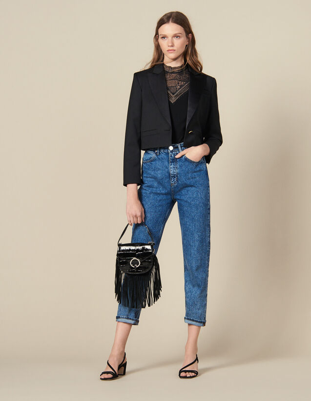 Cropped Blazer : Blazer & Jacket color Black