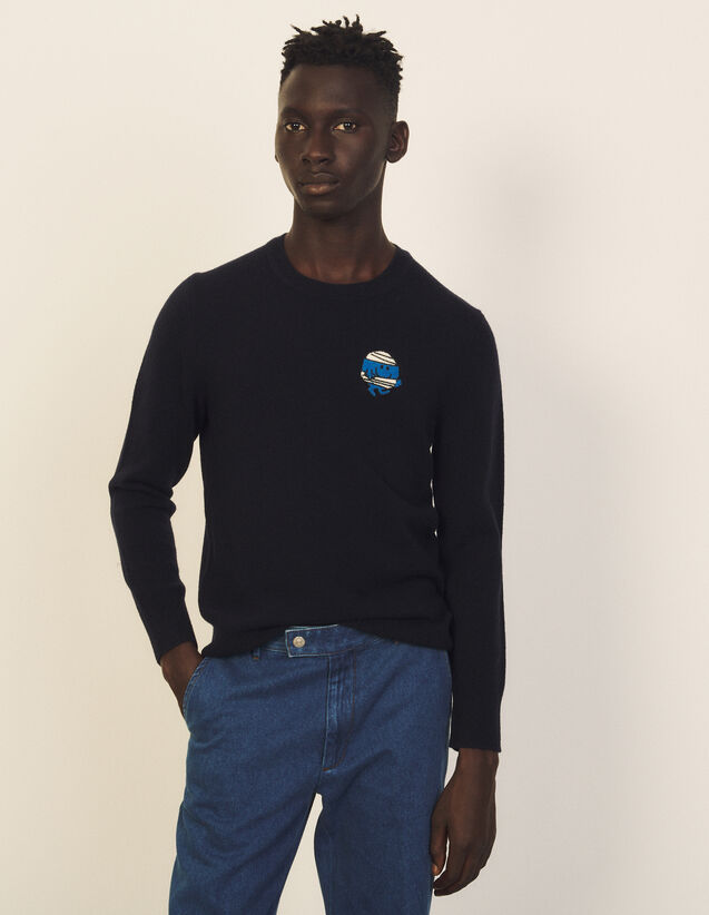 Wool Sweater With Patch : Sweaters & Cardigans color Navy Blue