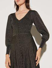 Long Button-Up Dress In Lurex Knit : Dresses color Black / Gold