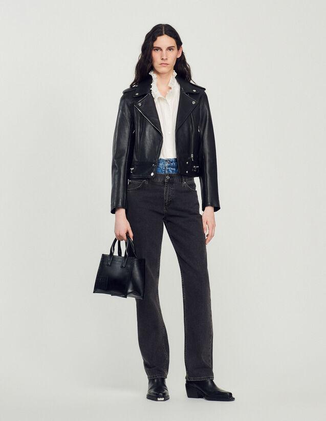 Short Leather Jacket : Blazer & Jacket color Black