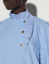 Poplin Top With Pleated Collar : Tops color Sky Blue