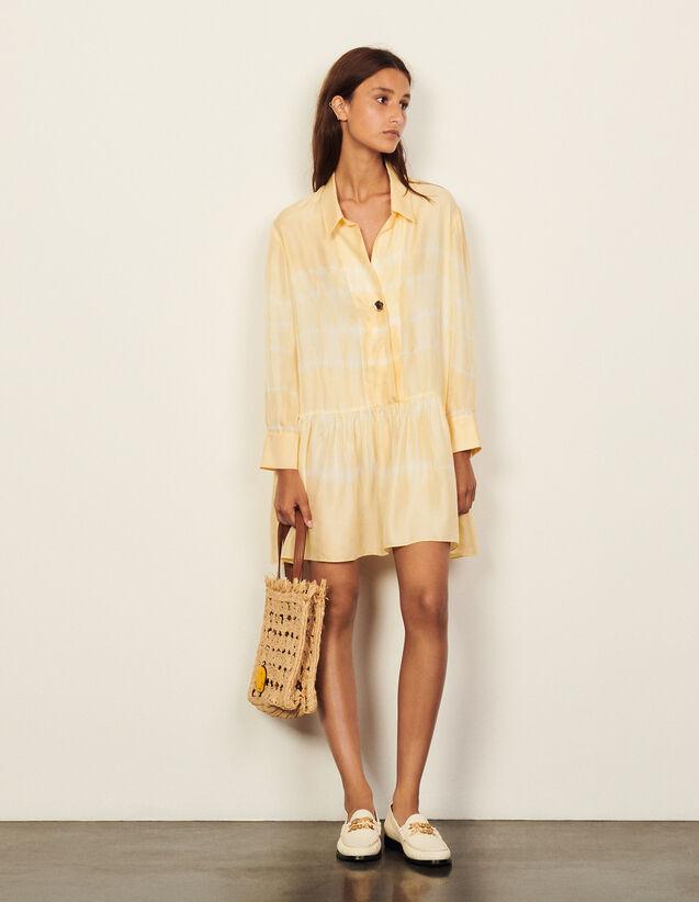 Short Tie-Dye Silk Dress : Dresses color Light Yellow