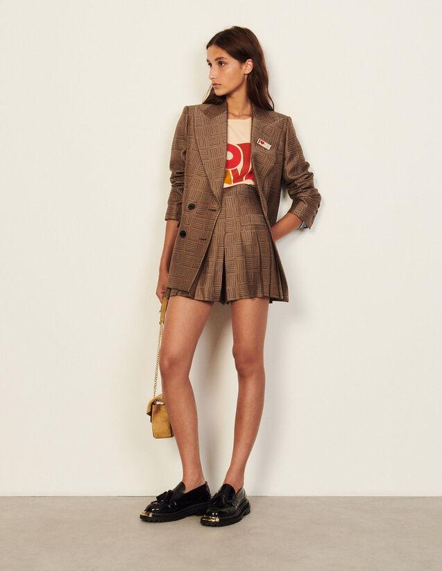 Short Patterned Jacquard Skort : Skirts & Shorts color Brown / Black
