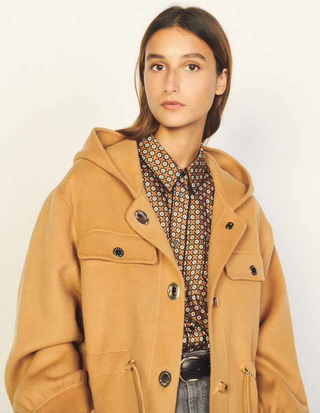 Double-Faced Wool Coat With Hood : Coats color Camel