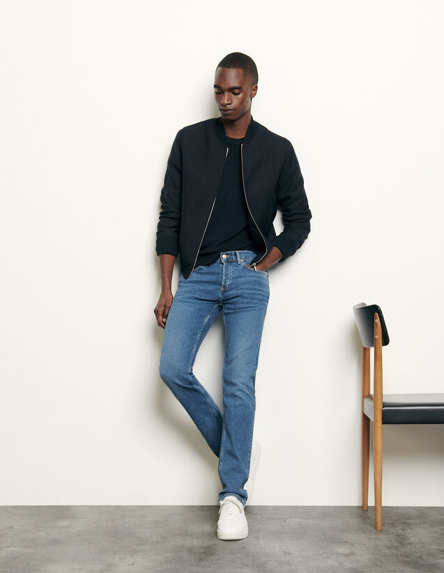 Washed Jeans - Slim Cut : Jeans color Blue Vintage - Denim