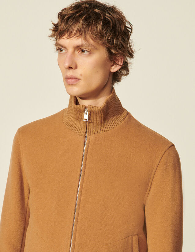 Wool Zipped Jacket : Coats & Jackets color Beige
