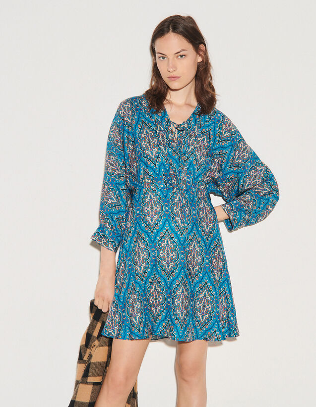 Short Printed Dress With Lacing : Dresses color Petrol blue / Orange