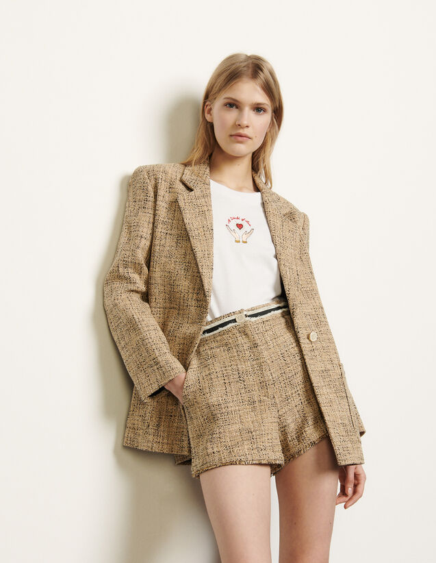 Tweed Tailored Jacket : Blazer & Jacket color Beige