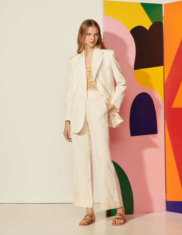 High-Waisted Trousers With Wide Turn-Ups : null color Ecru