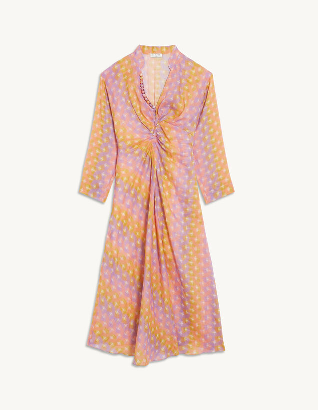 Long Printed Dress In Linen And Silk : View All color Purple