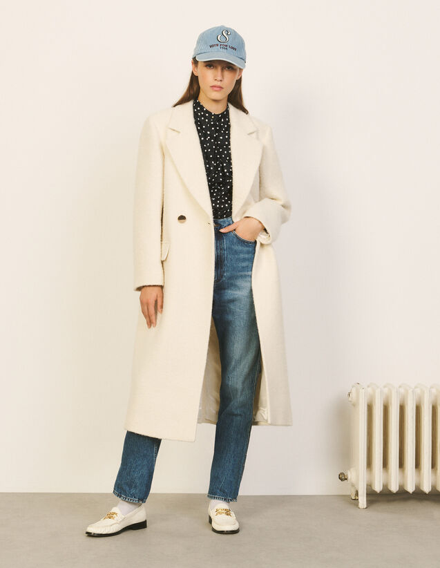 Long Coat With Tailored Collar : Coats color Ecru