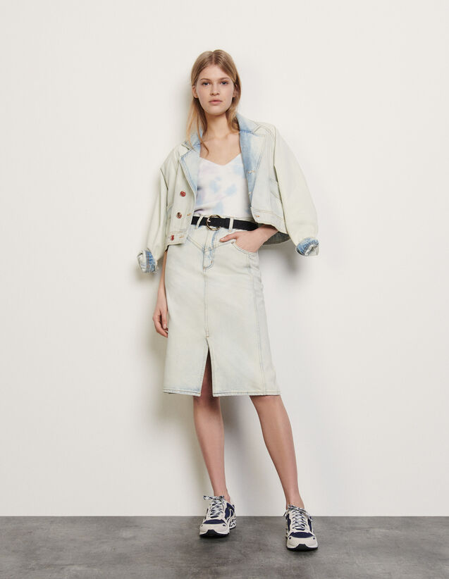 Snow Wash Denim Skirt : Skirts & Shorts color Blue Vintage - Denim