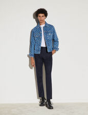 Printed Denim Jacket : Trench coats & Coats color Blue Vintage - Denim