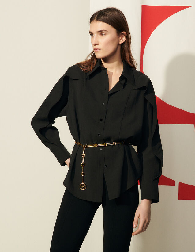 Oversized Cape Shirt With Ruffles : Shirts color Black
