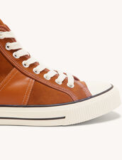 Leather High-Top Trainers : Shoes color Camel