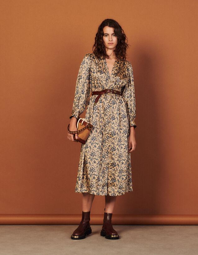 Long Flowing Printed Dress : Dresses color Gold / Blue