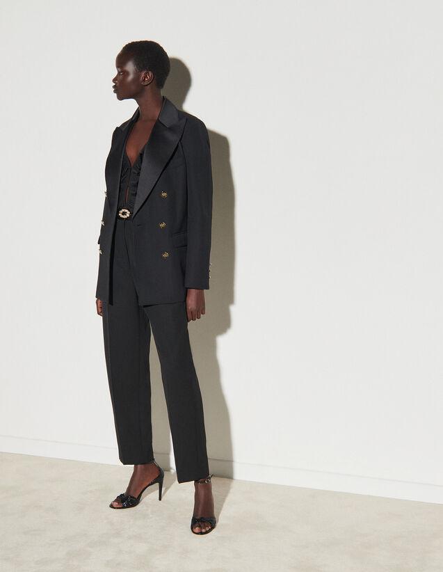Dual-Fabric Tailored Jacket : Blazer & Jacket color Black