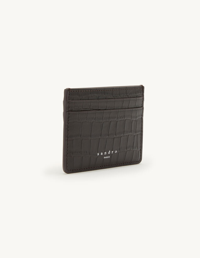 Crocodile Embossed Leather Card Holder : Leather Goods color Teck