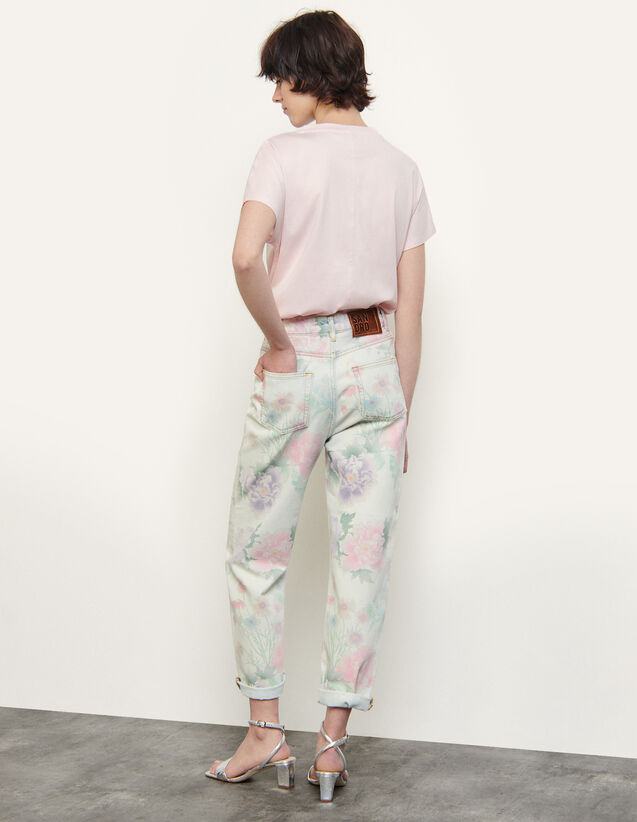 Printed Faded Jeans : Jeans color Multi-Color