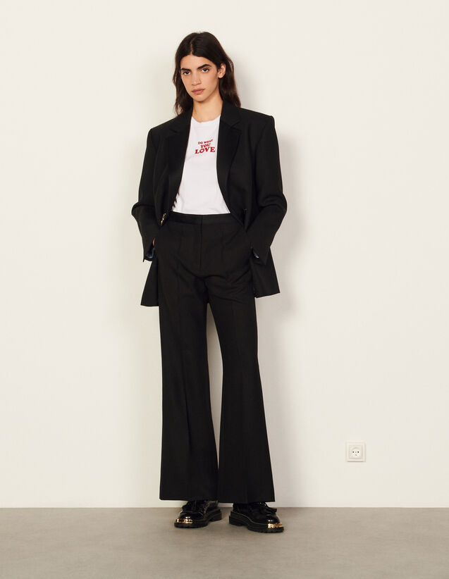 Flared High-Waisted Trousers : Pants color Black