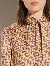 Printed Shirt With Tie Collar : Shirts color Beige / Bordeaux