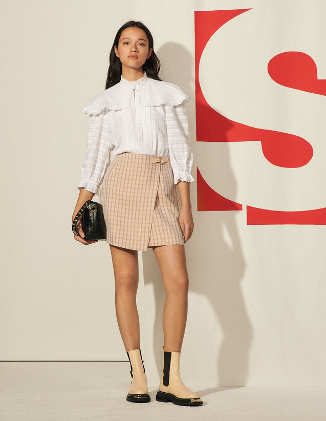 Short Checked Skirt : Skirts & Shorts color Nude