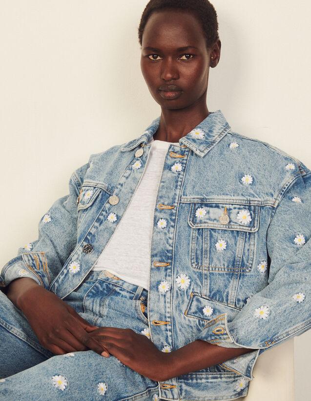 Embroidered Denim Jacket : Blazer & Jacket color Bleu Denim