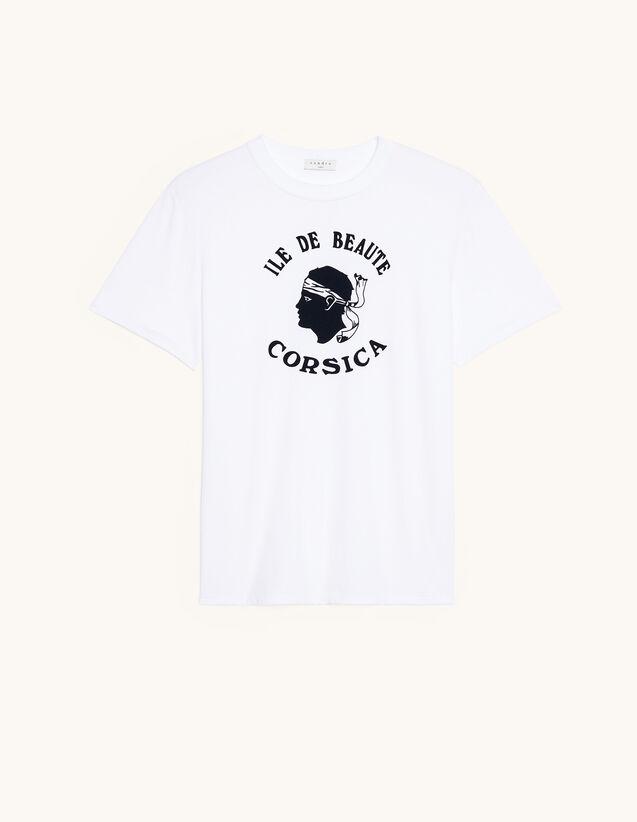 T-Shirt With Fancy Flocking : T-shirts & Polo shirts color Ecru