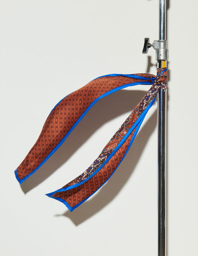 Paisley Print Scarf : Other accessories color Petrol blue / Orange