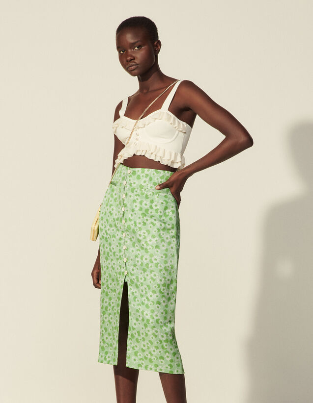 Straight Printed Skirt With Buttons : Skirts & Shorts color Green