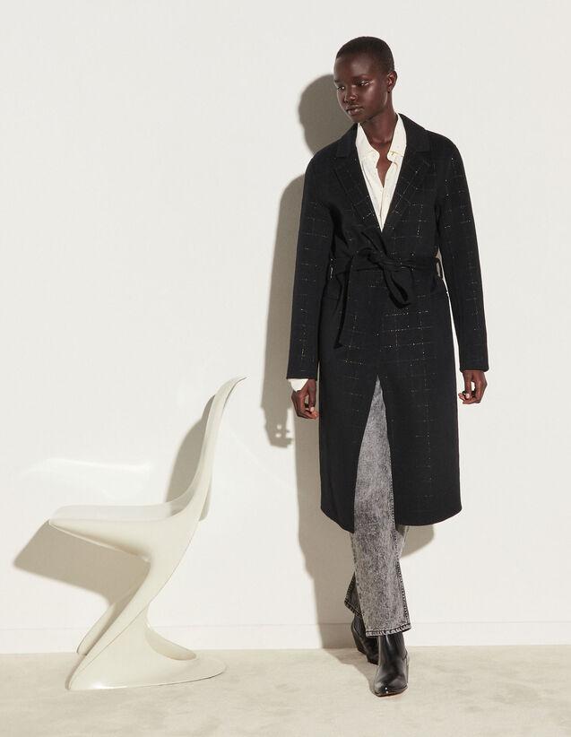 Long Coat With Fancy Checks : Coats color Black
