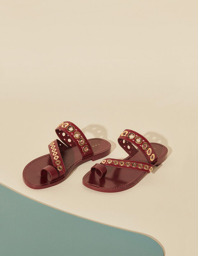 Leather Sandals With Eyelets : View All color Black