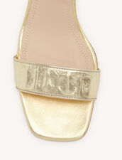 Embossed Crocodile Leather Sandals : Shoes color Gold