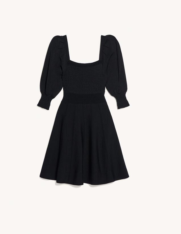 Dress With Square Neckline And Smocking : Dresses color Black
