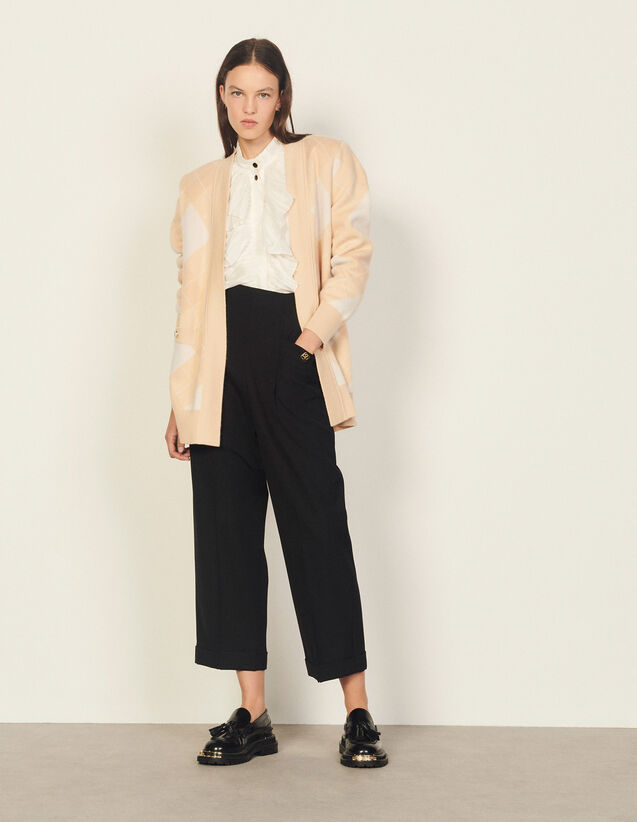 Coatigan With Jacquard Pattern : Sweaters & Cardigans color Ecru