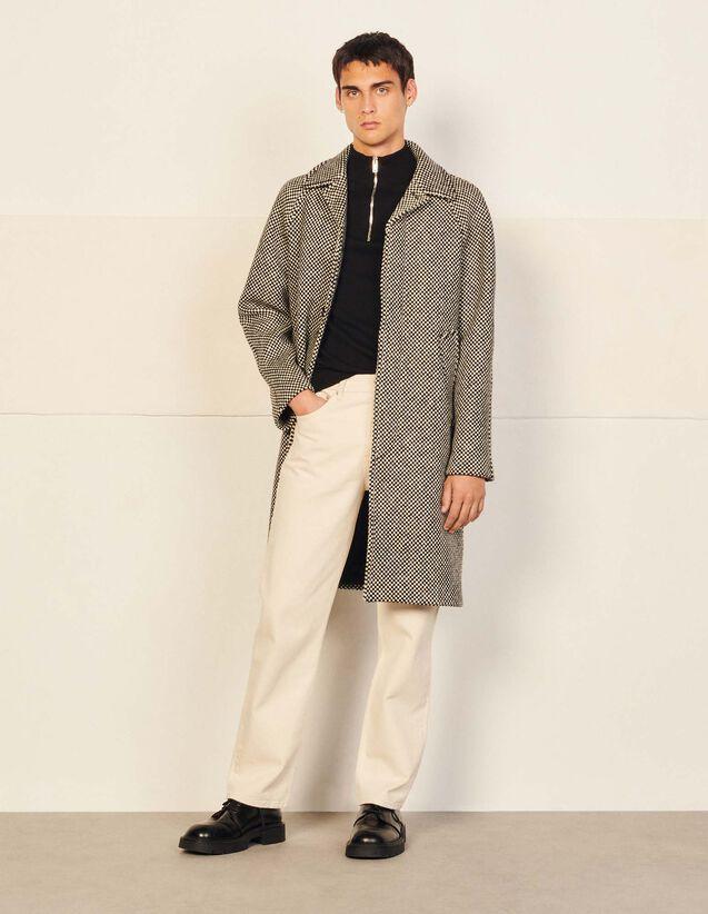 Italian Wool Coat : Trench coats & Coats color Damier Black - White