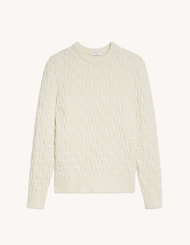 Wide Cable Knit Sweater : Sweaters & Cardigans color white