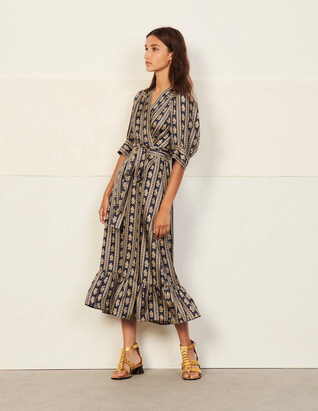 Long Printed Wrap Dress : Dresses color Beige / Blue