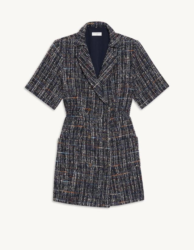 Short Tweed Dress : Dresses color Deep blu