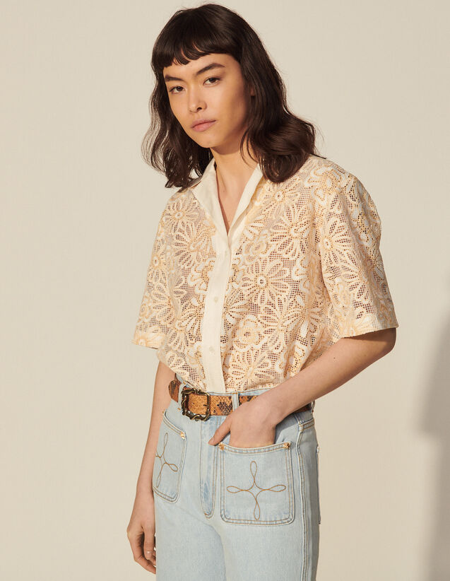 Daisy Lace Mesh Shirt : Spring Summer Collection color Ecru / Yellow