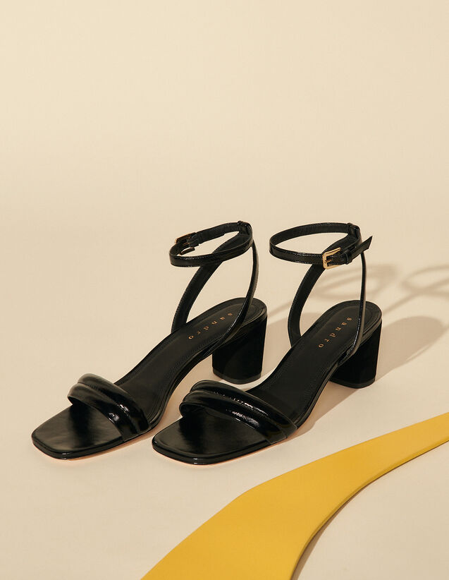 Patent Leather Sandal With High Heel : Shoes color Black