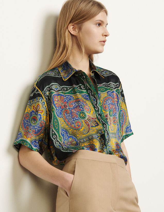 Short-Sleeved Printed Shirt : Shirts color Black