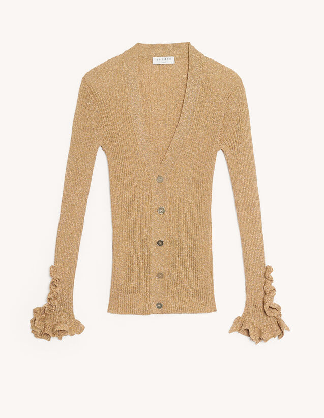 Lurex Knit Cardigan : Sweaters & Cardigans color Gold